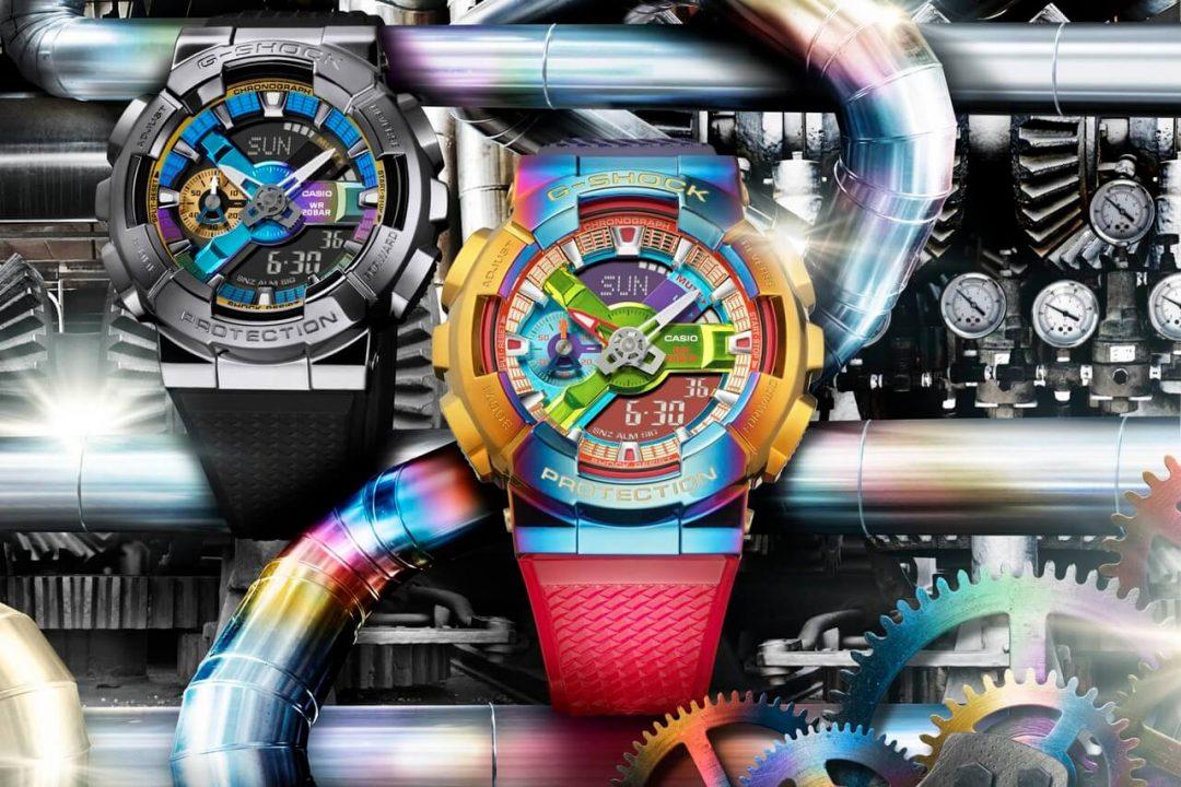 металлические часы casio g-shock gm-110 радужная расцветка