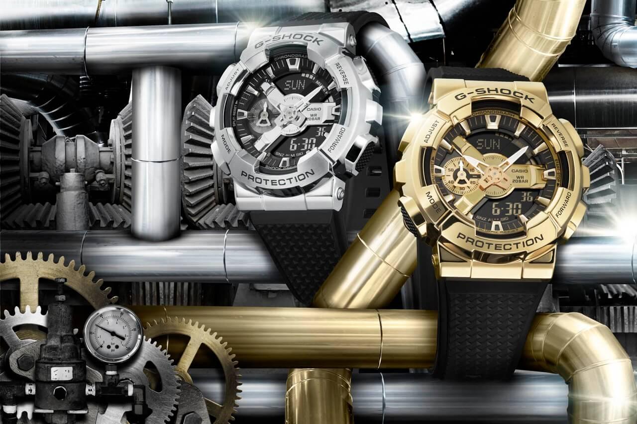 золотые металлические часы casio g-shock gm-110