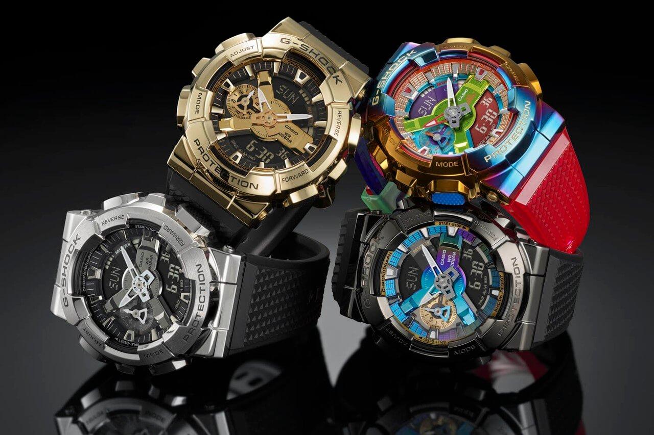 металлические часы casio g-shock gm-110 золотая радужная расцветка