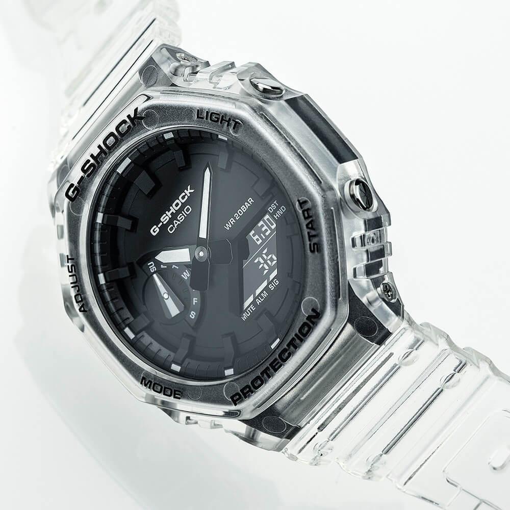 g-shock ga-2100ske скелетон прозрачные часы из полимера